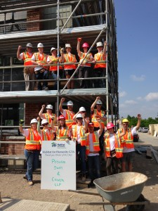 Lawyers and staff from Prouse, Dash & Crouch, LLP volunteering on the Torbram Road Habitat for Humanity build